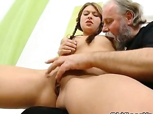 Anna has her pussy eaten out by older man