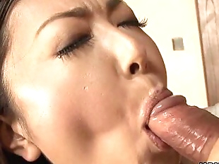 Asian milf sucking his cum off for a mouth slurp..