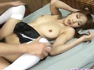 Ai Kurosawa in uniform rubs hairy pussy and gets..