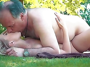 Petite teen fucked hard by grandpa on a picnic..